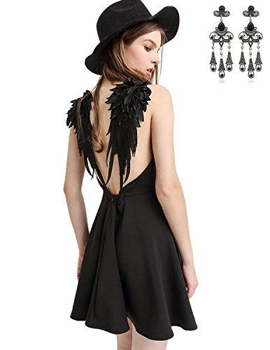 MODETREND Mujer Vestidos Cortos del Arnés con Ala Escotado por Detrás A-Line Vestido Coctel Fiesta de Noche Negro