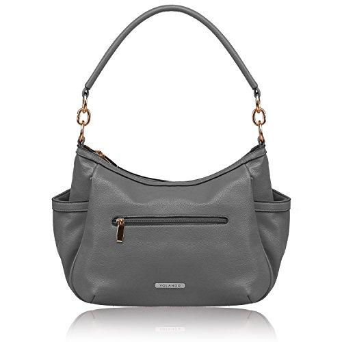 Print Animal Tote Handbag (YOLANDO Women Vegan Leather Zipper Tote Bag Handbags Medium Ladies' Purse YT0021 Gray)