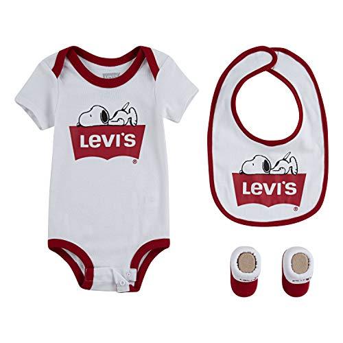 Levi's Baby Bodysuit, Bib and Bootie 3 Piece Set, White Snoopy, 0/6M (Snoopy Baby Stuff)