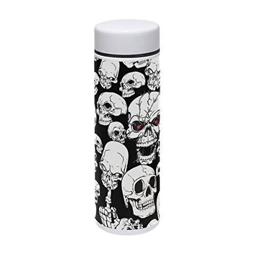 MUOOUM Scary Skull Red Eye Fuck Finger Vacuum Insulated Stainless Steel Travel Mug Sports Water Bottle 7.5-Ounce Hot for 12 Hours