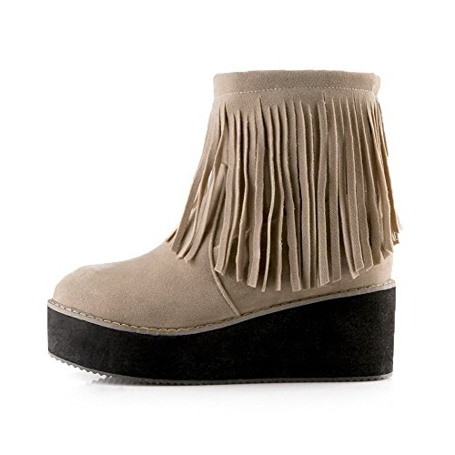 Boots Heels Beige WeenFashion High Low Toe Closed Pull Round Women's Frosted Top On 1TB8wPAq