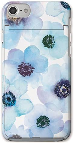 iPhoneSE (第2世代) iPhone8 iPhoneケース (ハードケース) [ミラー付き/カード収納/全面印刷] Bloem (ブルーム) Bloem Flower 003-Blue CollaBorn (iPhone7/iPhone6s/iPhone6対応) (水色)