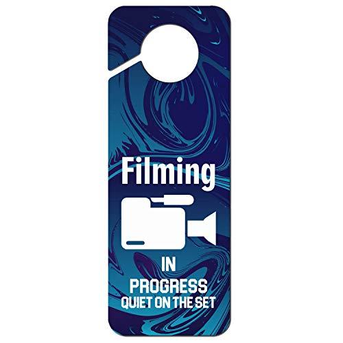(Filming in Progress Quiet on The Set-2 Designer Door Knob Hanger Sign Plastic for - Office Clinic Hotel Home)