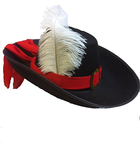 Adult Musketeer Hat (Musketeer or Swashbuckler Felt Hat with Red Trim and White Feather)