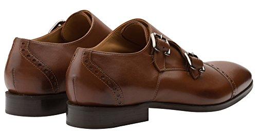 Dapper Schoenen Co. Handgemaakte Echt Leer Heren Klassieke Dubbele Monkstrap Slip- Op Leer Bekleed Geperforeerde Kleding Schoenen Bruin