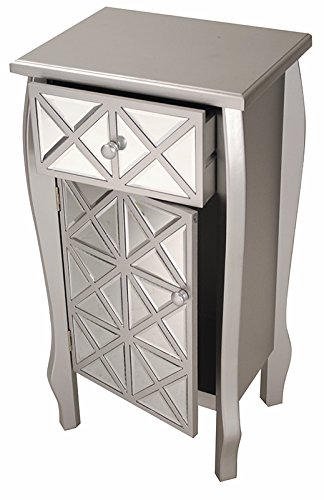 s Bombe Style Single Drawer Accent Cabinet/Console with Front Panel Mirrored Accents, 32.7