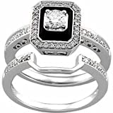 14K White Gold Antique-Inspired Emerald Cut Black Onyx Diamond Wedding Ring Set
