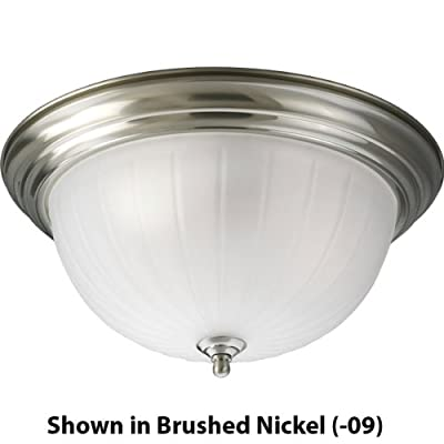 Progress Lighting P3818-10 3-Light Close-To-Ceiling with Etched Ribbed Glass, Polished Brass