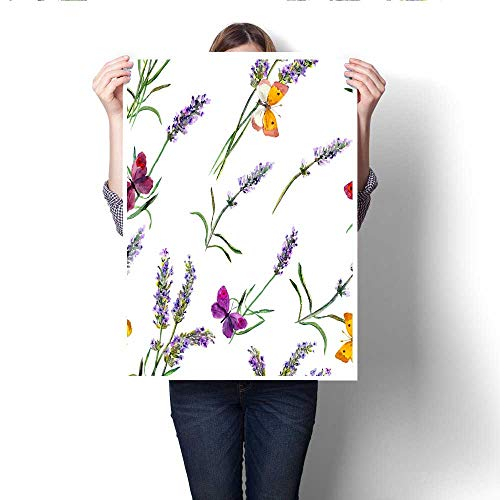 Anshesix Canvas Wall Art for Bedroom Home Decorations Lavender Flowers and Butterflies Seamless Wallpaper Watercolor for Home Decoration No Frame 16