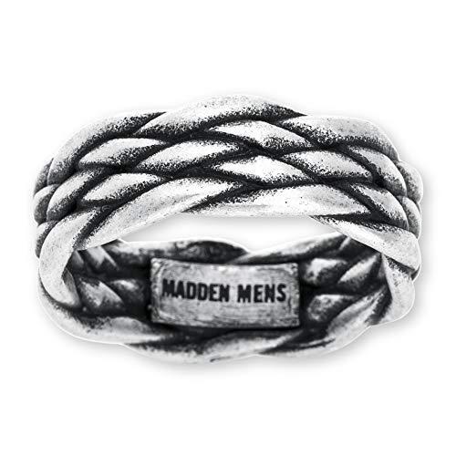 Steve Madden Men's Double Woven Design Ring in Oxidized Stainless Steel Silver 9