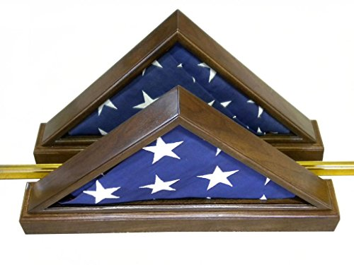 Double-View Solid Walnut Flag Display Case w/ Base for 5x9.5' Memorial Burial Flag, USA (American Walnut Base)