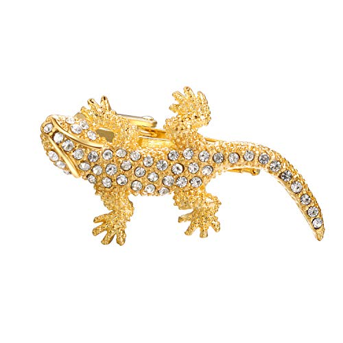 Yoursfs Large Lizard Tie Clip Gold Toned with Sparkly Cubic Zirconia Unique Tie Clips for Men