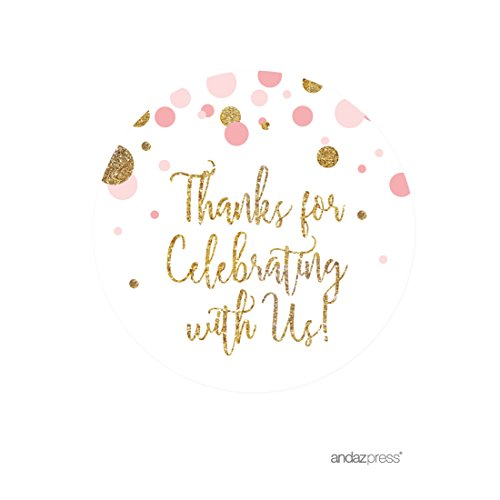 Round Baby Shower Labels (Andaz Press Blush Pink Gold Glitter Girl Baby Shower Party Collection, Round Circle Label Stickers, Thank You for Celebrating With Us, 40-Pack)