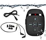 【2018 NEW VERSION】 HIFI sound waterproof MP3 player for swimming and running,underwater headphones with short cord(3 types earbuds), Shuffle feature (Black)