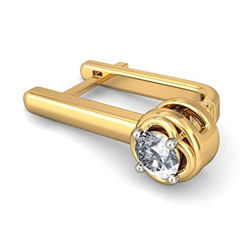 Or jaune 18K 0,22CT TW White-diamond (IJ | SI) Boucles d'oreilles créoles
