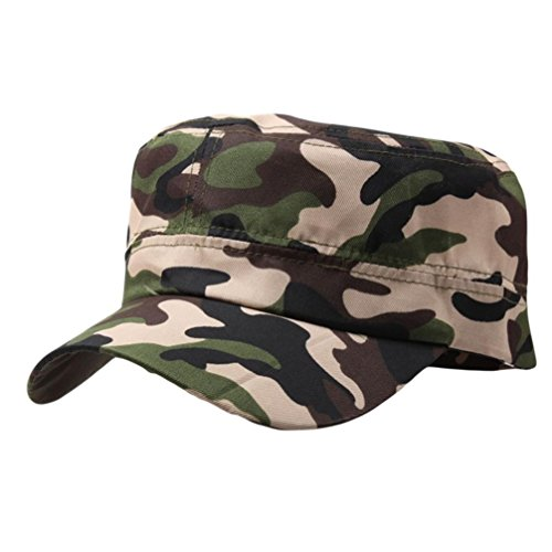 Challyhope Classic Fashion Unisex Outdoor Camo Tactical Plain Cadet Caps Army Military Hats Various Style and Colors Adjustable (Camo ()