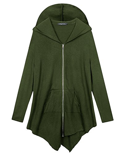 Urban CoCo Women's Pluse Size Hooded Sweatshirt Jacket Cape Style (4XL, Army Green)