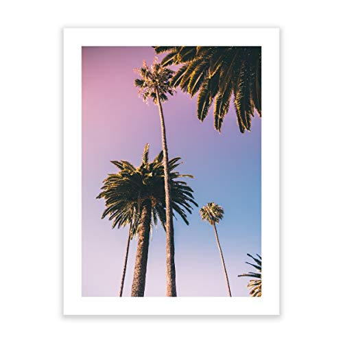(Humble Chic Wall Art Prints - Unframed HD Printed Modern Picture Poster Decorations for Home Decor Living Dining Bedroom Kitchen Bathroom Office Dorm Room - Sunset Palm Trees Ombre, 18x24 Vertical)