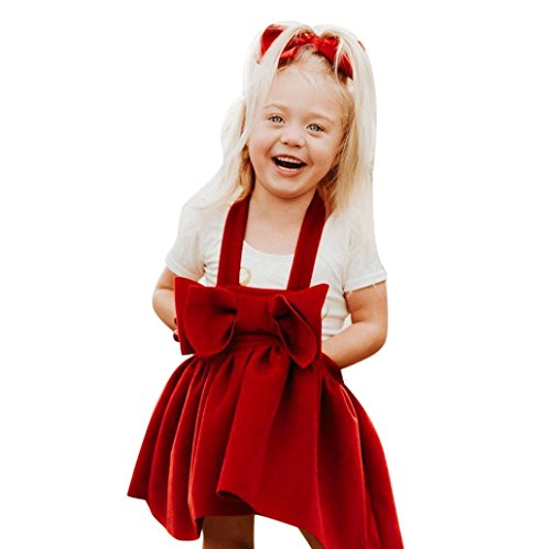 Kehen Toddlers Girls Suspender Skirt Party Outfit Red Bowknot Knee-Length Braces Dress Overalls (Red, 2-3T)