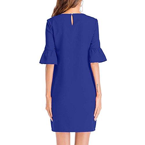 Fete Bleu Court Soiree Originale Cintre de Mode Femme Automne Chic de Longue Manche de Robe klaxon Vetement Loisirs qxWT4waAq