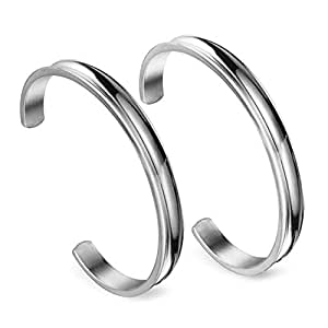 7mm Stainless Steel Hair Tie Bracelet Grooved Cuff Bangle High Polished for Women Girls (2PCS Silver)