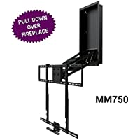 MantelMount MM750 Above Fireplace Pull Down TV Mount with 4 Premium Gas Pistons and Attached Recess Box for 1.6 Flush-to-Wall TV Storage