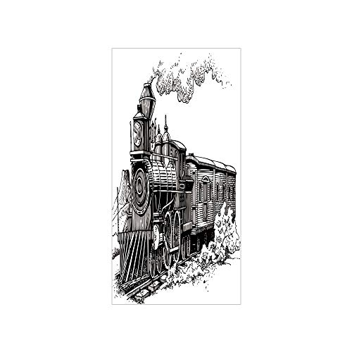 3D Decorative Film Privacy Window Film No Glue,Steam Engine,Rustic Old Train in Country Locomotive Wooden Wagons Rail Road with Smoke,Black and White,for Home&Office (Locomotive Telephone)