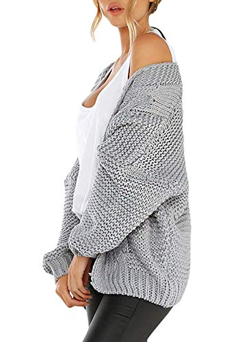 B Femme V Automne Tricot Cardigan Cardigans Hiver Manche Chic Col Casual ShallGood Chandail Gris Sweaters Pull Chaud Ample Couleur Cardigans Unie Veste Longue qg1Wdn