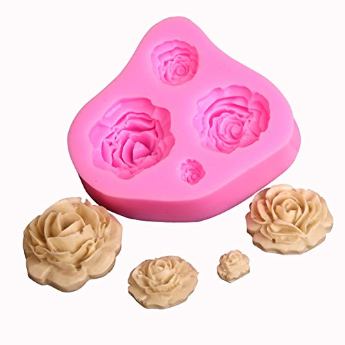 Chige Candy Mold, Silicone Baking Trays - Food Grade & BPA Free - Not Sticky Cake Decoration Mould For Mousse,Chocolate Brownie,Jelly,Ice Cream,Chiffon,Cheesecake,Fondant (Small Roses)