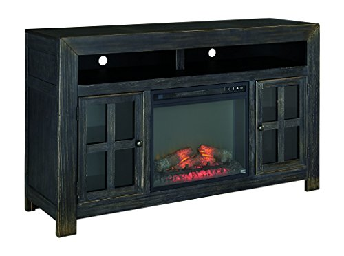 Ashley Furniture Signature Design - Gavelston TV Stand - Electric Fireplace - Entertainment Console - 61 in - Black