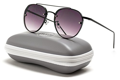 WearMe Pro - Colorful Tinted Lens Metal Frame Aviator Sunglasses (Black Frame/Black Lens, 59)