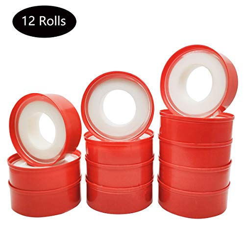 NGe 12 Rolls 1/2″ x 787.4″ Thread Seal Tape – Premium White Pipe Water Sealant Plumbers Thread Tape