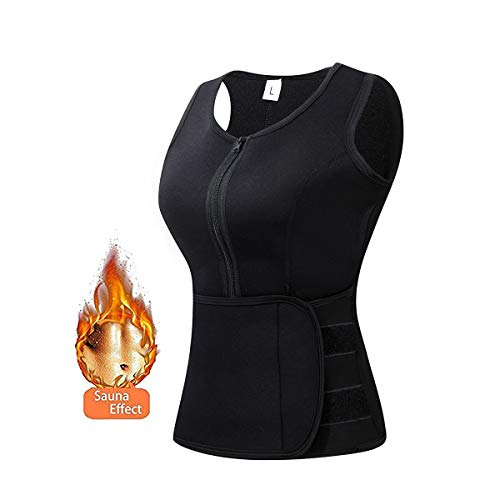 Elejolie Hot Sweat Vest for Women Neoprene Sauna Vest with Adjustable Shaper Belt Slimming Weight Loss Black Tank Top