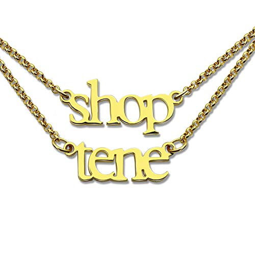 LTH12 Pendant Necklaces - Wholesale Layer Name Necklace Double Chain Mini Name Necklace Gold Color Children Names Necklace Couple Necklace BFF Jewelry 1 PCs