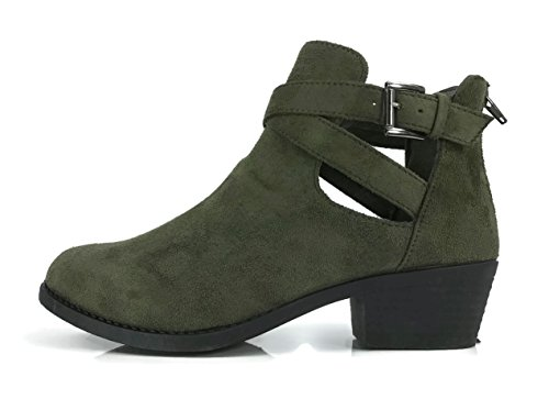 Women's Bailey Ankle Bootie Cut Out Sides Buckle Straps Mid Block Stacked Heel, Olive, 7.5