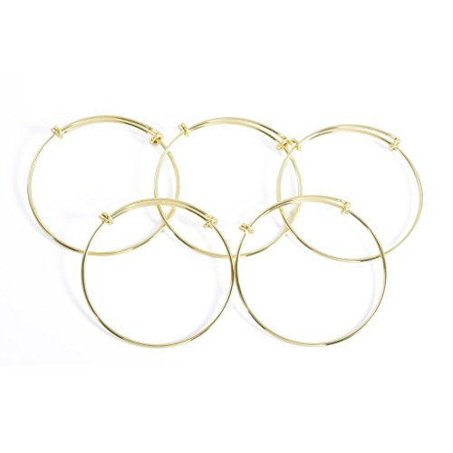 Yumei JewelryExpandable Wire Blank Bangle Bracelet for Childens DIY Jewelry Making,2 Inch,Gold-tone (Bracelet Blanks Gold)