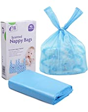 Baby Disposable Diaper Sacks Bags Dispenser Antibacterial Power Scented Nappy Disposal Bags Easy-Tie for Travel (Blue,90-Count)