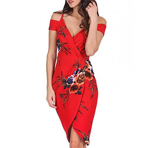 Cocktail Dresses for Women Floral Printing V Neck Off Shoulder Sleeveless Evening Party Dress M Red