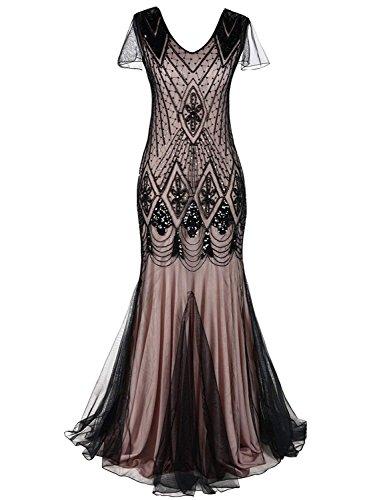 MAYEVER Women 1920s Long Prom Gown Beaded Sequin Mermaid Hem Ball Evening Dress with Sleeve Headband Free (XXL, Black Beige) ()