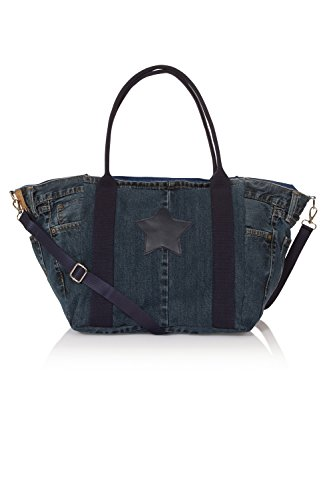 Denim reciclado bolso de viaje holdall Manijas azules Denim Tote Weekend Bag DENIMBAGNAVY