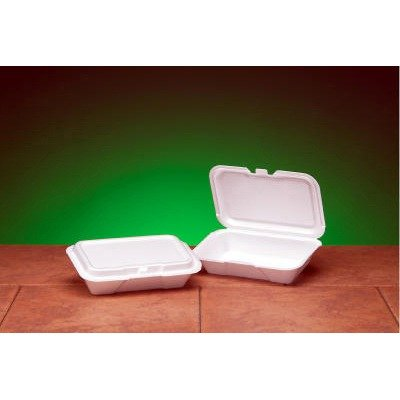 Genpak 20400 Foam Hinged Shallow Container, Small, 8-1/3x...