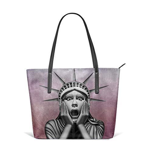 Women's Soft Leather Tote Shoulder Bag Statue Of Liberty Big Capacity Casual Portable Handbag Purses Work Travel Bag