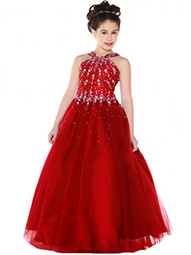 Aisha Girls' Beads Pageant Dresses V Neck Birthday Party Ball Gown 10 US Red by Aisha