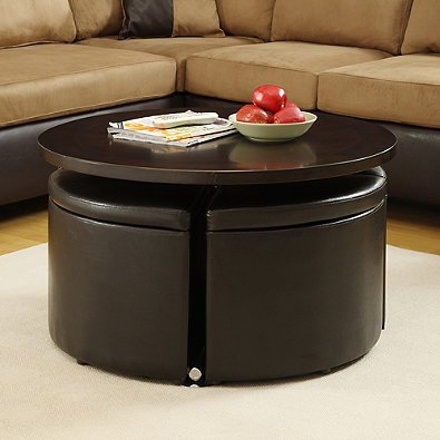 5-piece cocktail table set with four storage ottoman stool