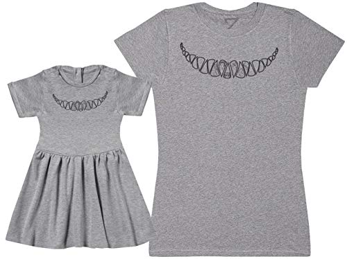 Cheshire Cat Smile - Matching Mother Baby Gift Set - Womens T Shirt & Baby Girl Dress - Grey - XX-Large & 1-2 Years -