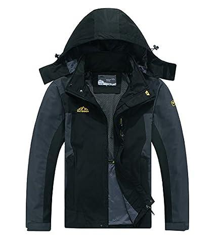 Cheerun Men's Outdoor Sports Hooded Windproof Jacket Waterproof Rain Coat Black XX-Large - Sports And Outdoors