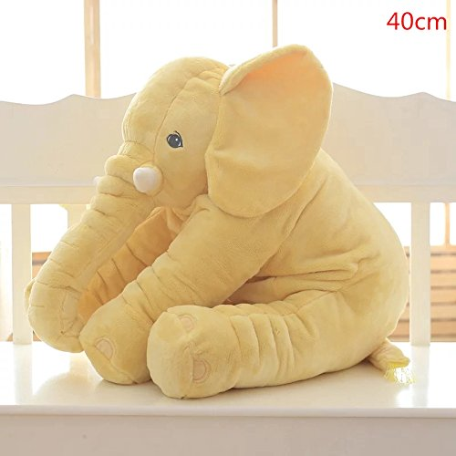 CACAOYAL 1PC 40/60cm Infant Soft Appease Elephant Playmate Calm Doll Baby Appease Toys Elephant Pillow Plush Toys Stuffed Doll (60cm Yellow)