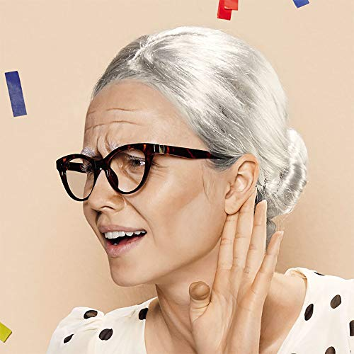 Grandma Wig Old Lady Woman Granny Mother Wigs Cosplay Costume Party Q