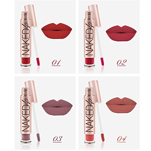 4 pc long lasting matte nude brown and red color liquid lips