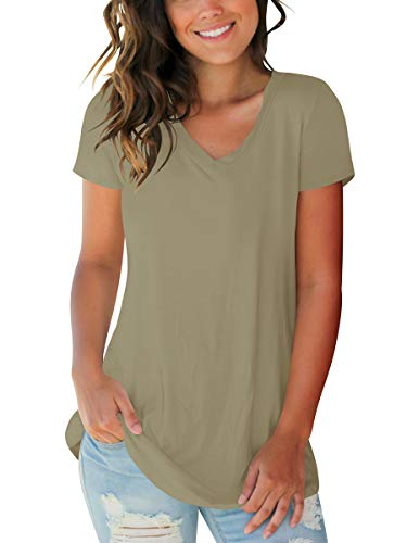 Womens Cool Tops Loose Fitting Summer Shirts Plus Size Clothing Khaki XXL
